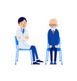 elderly man at doctors appointment doctor and vector image