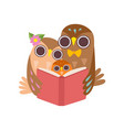 father owl reading book to his owlet happy family vector image