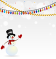 Festive snowman in hat with garlands vector image