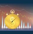 financial graph falls down dollar gold coin vector image