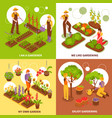 gardening isometric concept icons set vector image vector image