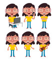 geek girl wearing glasses set vector image vector image