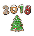 gingerbread christmas spruce tree cookie vector image vector image