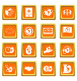 global connections icons set orange vector image vector image