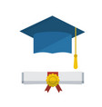 graduation cap and diploma rolled scroll icon vector image