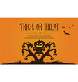 halloween with tree and pumpkin greeting card vector image vector image