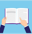 hands holding open book reading book vector image