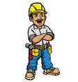 happy construction worker vector image vector image