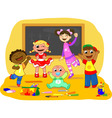 Happy kids in a school class vector image vector image