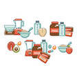 healthy food and sport nutrition gaining weight vector image