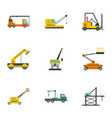 hoisting crane icons set cartoon style vector image