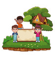 kids and wooden board vector image