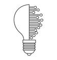 lightbulb with microcircuit icon outline vector image vector image