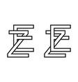logo sign ez ze icon sign interlaced letters z e vector image
