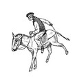 man rider in national clothes greek on horse or vector image