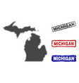 michigan state map in halftone dot style with vector image