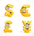 Monetary signs smiling emoticons dollar pound euro vector image vector image