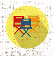 movie chairs icon with screen grunge retro vector image vector image