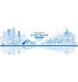 outline welcome to vietnam skyline with blue vector image vector image