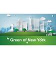 paper art of green landmarks of new york city vector image vector image