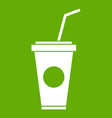 paper cup with straw icon green vector image vector image