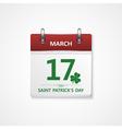 patrick day calendar vector image vector image
