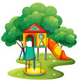 playground with slide and roundabout vector image vector image
