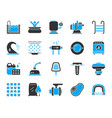 pool equipment simple color flat icons set vector image