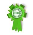 Realistic green fabric award ribbon vector image vector image