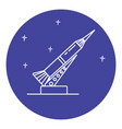 rocket and launch pad icon in thin line style vector image