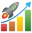 Rocket Business Start Bar Chart Gradient vector image vector image