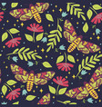 seamless pattern with moths dead head graphics vector image