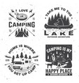 set camping badges concept for shirt vector image