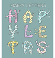 Set of bright cartoon letters with hands on a vector image vector image