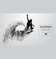 silhouette of a skateboarder skateboarder jumps vector image vector image