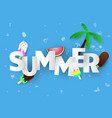 spring summer poster banner watermelon lettering vector image