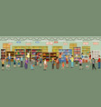 supermarket interior with people vector image vector image