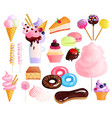 sweets desserts colorful icons set vector image vector image
