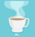 tea cup with smoke flat vector image vector image