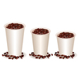 three paper coffee cups filled with coffee beans vector image
