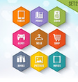trendy rounded hexagon icons set 2 vector image vector image