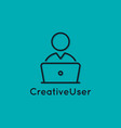user with laptop icon pc linear avatar vector image
