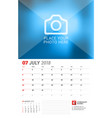 wall calendar planner for 2018 year july print vector image vector image