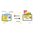 wallet icon geometric elements memphis money vector image