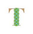 wooden leaves letter t vector image vector image