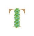 Wooden leaves letter t