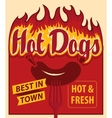 hot dog sausage and fire on fork vector image