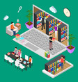 online reading isometric view vector image
