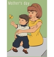Mothers day Young mother and little son Retro vector image