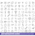 100 navigation icons set outline style vector image vector image